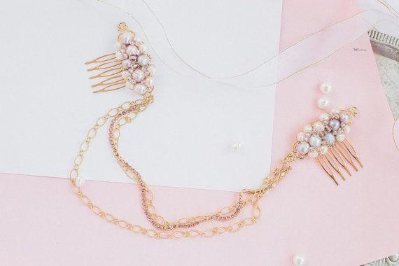 Pettinare i capelli da sposa perla, pettine da sposa, gioielli di nozze