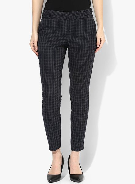 Buy Dorothy Perkins Navy Blue Checked Flat Front Trouser for Women Online India, Best Prices, Reviews   DO102WA13HPIINDFAS