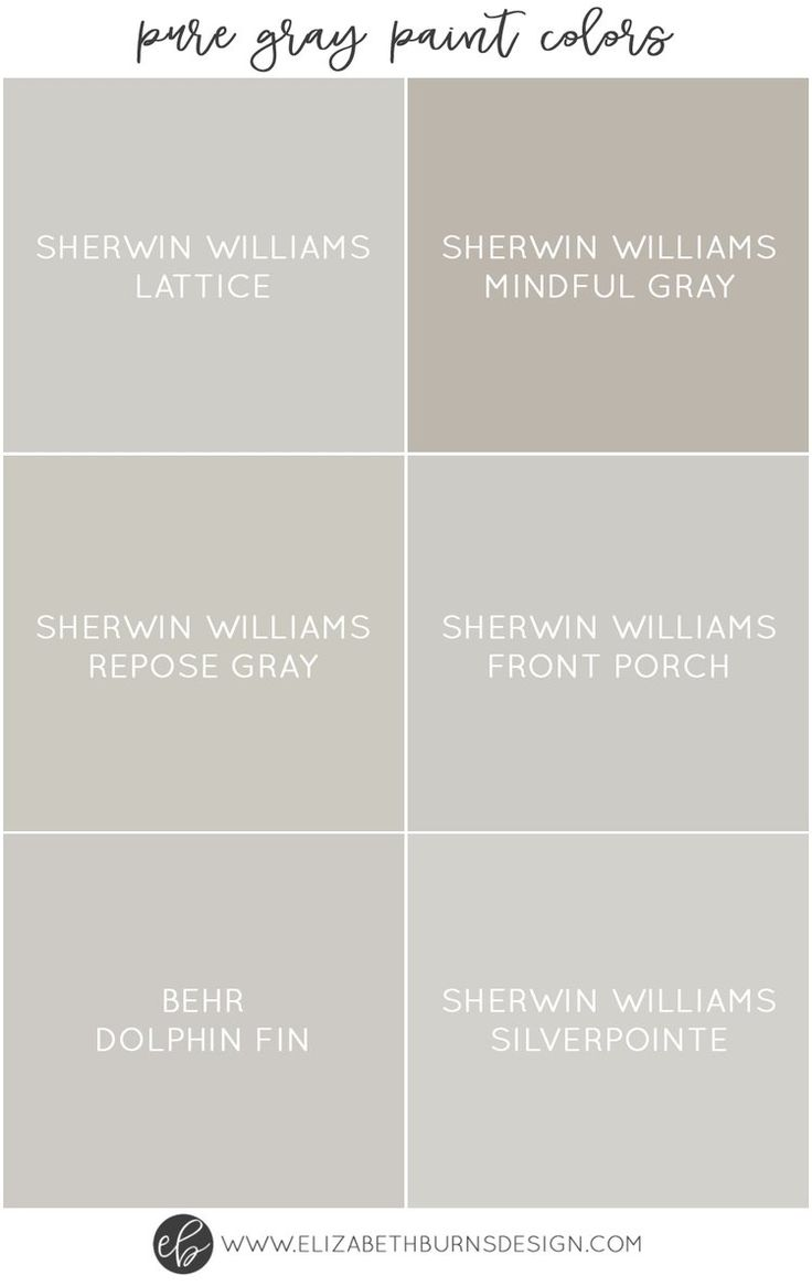 Elizabeth Burns Design | Pure Gray Paint Colors - Sherwin Williams Lattice, Sherwin Williams Mindful Gray, Sherwin Williams Repose Gray, Sherwin Williams Front Porch, Behr Dolphin Fin, Sherwin Williams Silverpointe