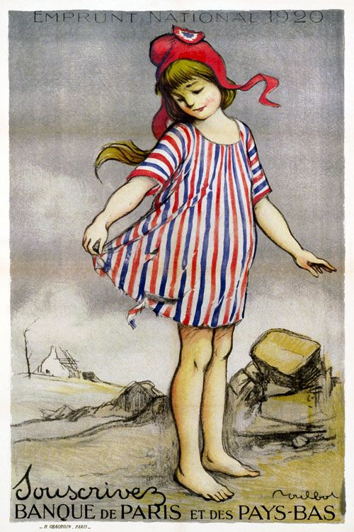A little French girl wears a torn dress with red, blue and white stripes -- the colors of France -- and a symbol of the French Revolution, a Phrygian cap. The text translates to: 'National Loan 1920.