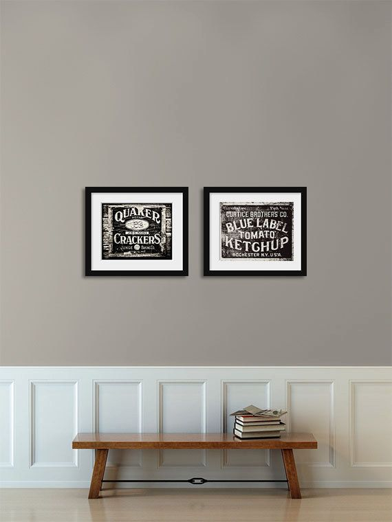 Rustic kitchen print set in black and white by for Kitchen set colour