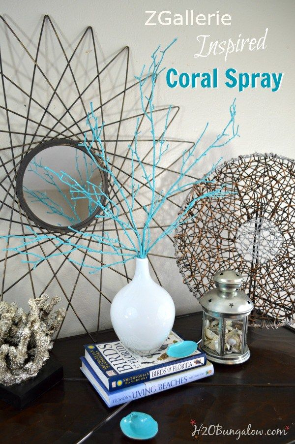 These colorful coral sprays are a 15 minute DIY coastal decor project that will add a quick punch of color to a room or coastal vignette.