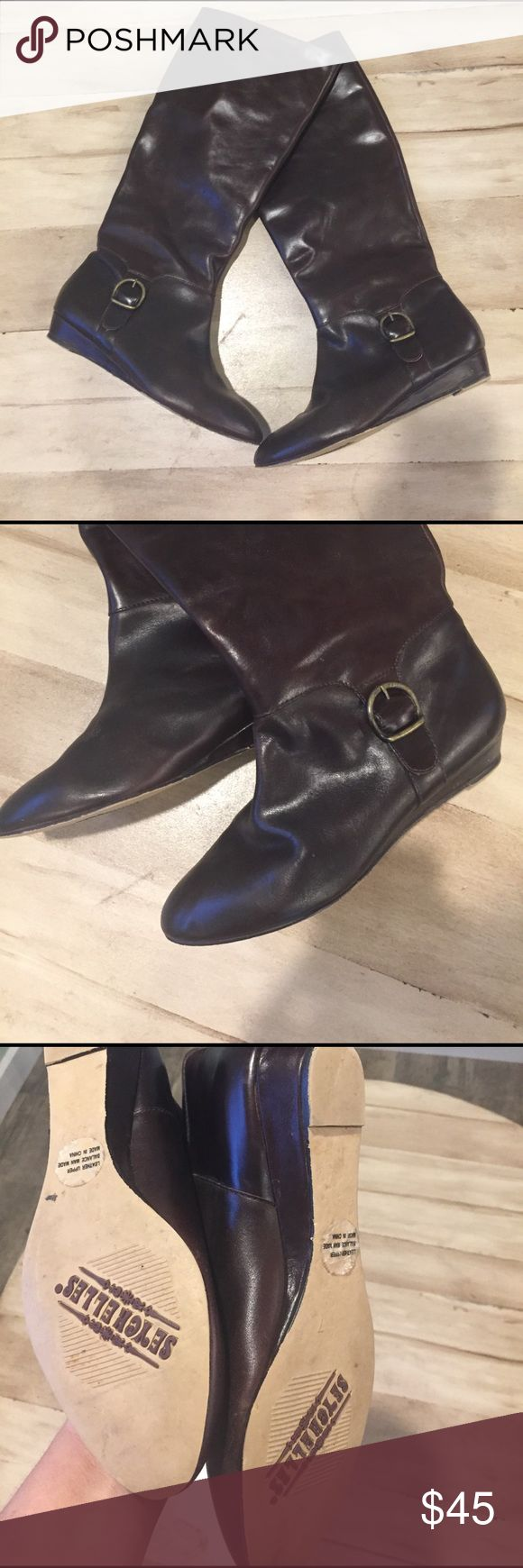 Seychelles boots In excellent condition. Never worn. Kind of a wine color.Real leather Seychelles Shoes Winter & Rain Boots