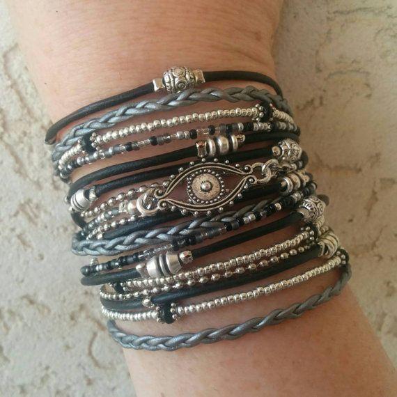 black leather evil eye wrap bracelet