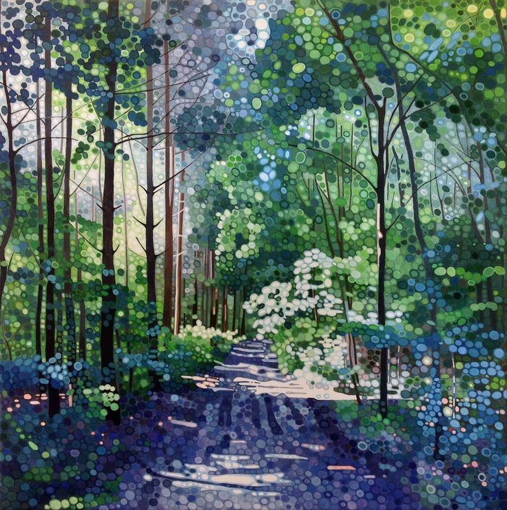 Ewa Adams Ray of Sunlight Acrylic on Canvas 60 x 60 cm  #Art #Acrylic #Paintings #Woods #Trees