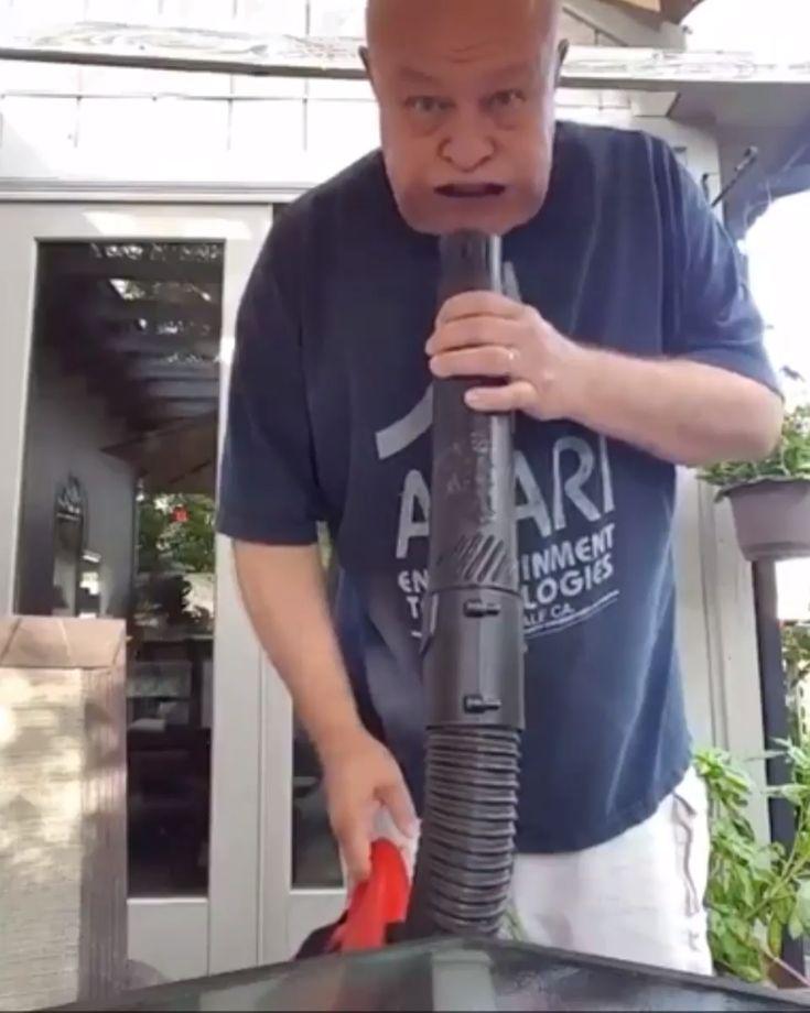 Testing the new leaf blower