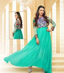 Buy sky blue embroidered georgette semi stitched salwar with dupatta anarkali-salwar-kameez online