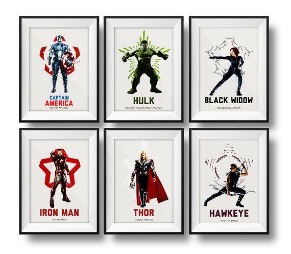 Deze set van 6 Marvel / DC Comics Avengers posters is perfect voor een Spelkamer, man grot, kantoor of de slaapkamer kind.  Gedrukt op