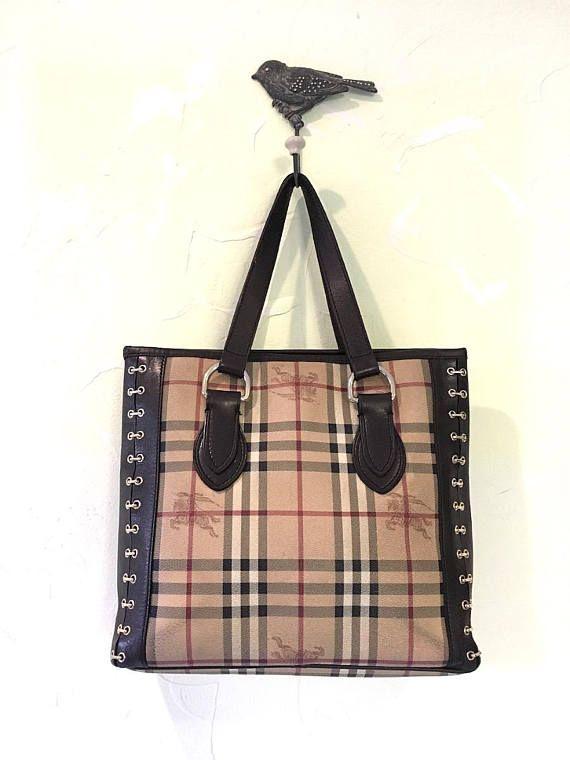 100% Authentic Burberry Tote Haymarket Nova PVC/ Leather Chester Bag Rare