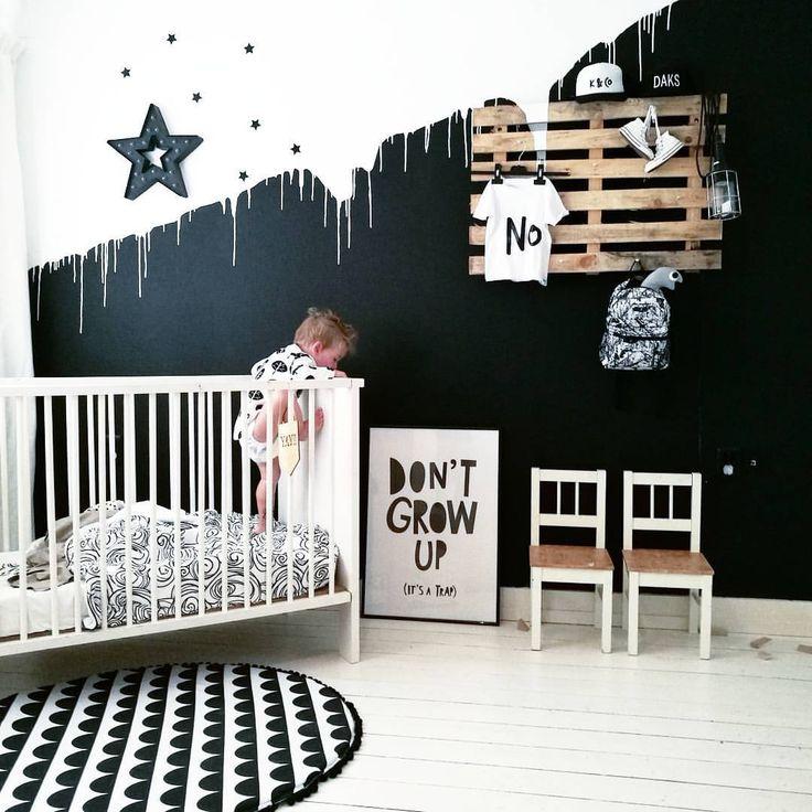 Monochrome nursery. Paint drip 2 colour walls
