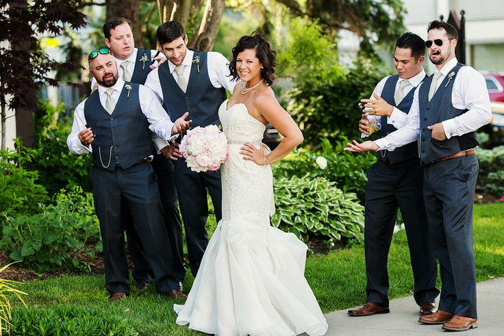The bride and groomsmen #mermaiddress #blushbouquet #lace #shortweddinghair