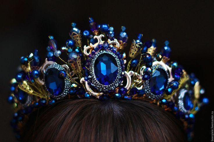 """Купить Корона """"Сердце океана"""" - тёмно-синий, сине-золотой, корона, корона для принцессы"""
