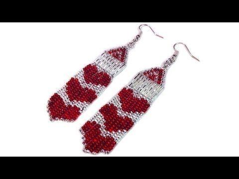 Tutorial: How to make beaded long heart earrings / Серьги из бисера с сердечками мастер-класс - YouTube