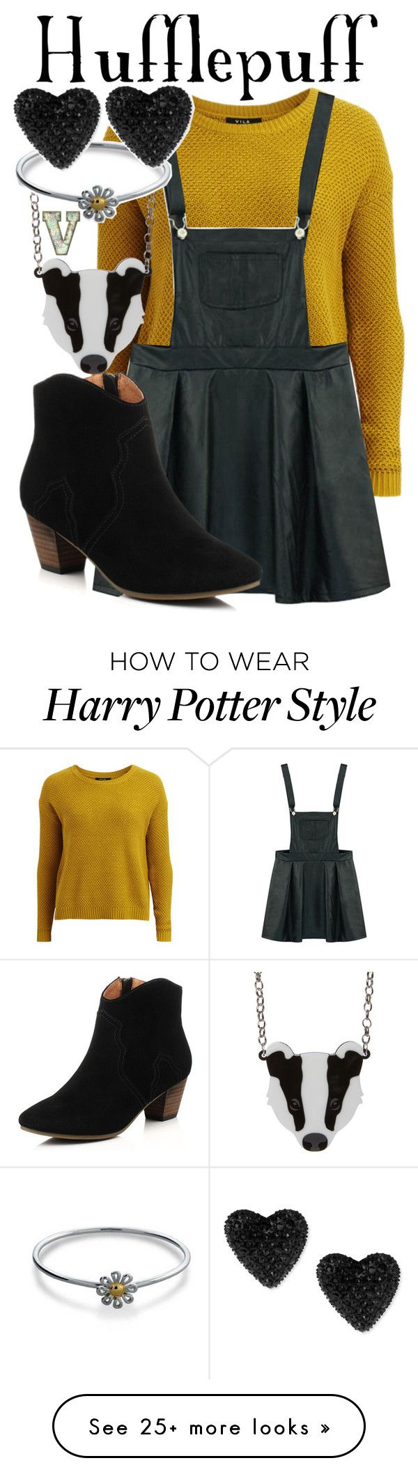 """""""Hufflepuff (Harry Potter)"""" by fabfandoms on Polyvore featuring VILA, Bling Jewelry and Betsey Johnson"""