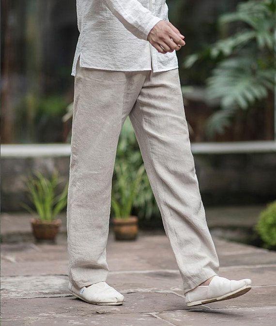 Men S Straight Linen Pants Elastic Waist 10 Colors Ramies Ropa De Playa Hombre Ropa Elegante Hombre Tarjetas De Tela