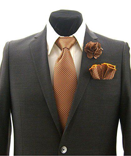 Men's Orange Tan Black Polka Dot Necktie Tie, Round Pocket Square and Lapel Pin Box Set - http://droppedprices.com/ties/mens-orange-tan-black-polka-dot-necktie-tie-round-pocket-square-and-lapel-pin-box-set/