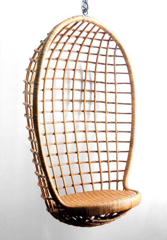 Vintage Hanging Rattan Egg Chair By Lacklusterco