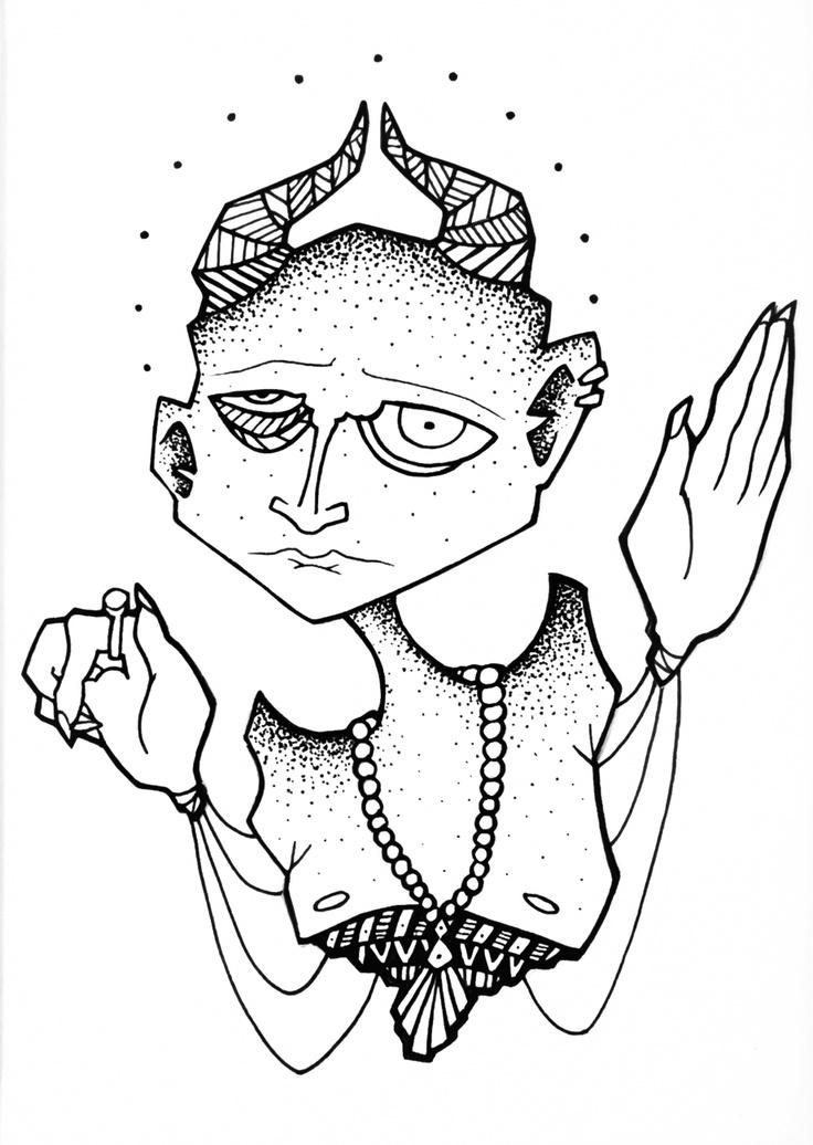 illustration, sketch, art, doodle, black and white, monster, dots, lines, horns, olivia lazer, the big ugly, strange, odd, unusual, hands