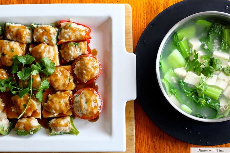 Steamed tofu with prawns, chicken, pak choy and soup - Thermomix recipe