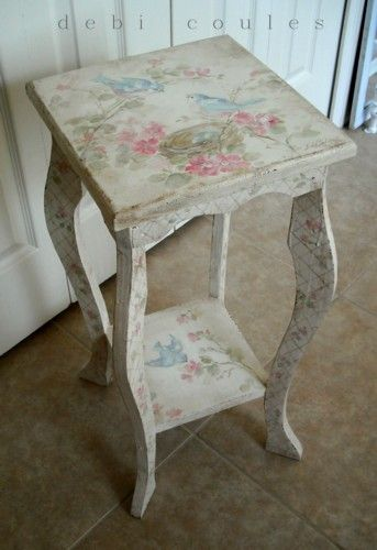 Cottage Bluebird and Roses Table by Debi Coules.