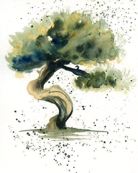 Bonsai Original watercolor painting 8x10 inch by Ireart on Etsy, $25.00
