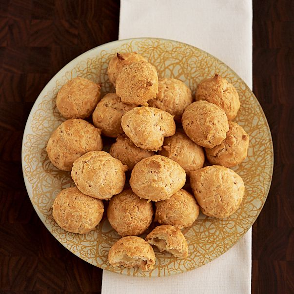 Alain Ducasse's recipe for gougeres. These airy French cheese puffs, flavored with Gruyere cheese and a hint of nutmeg, make phenomenal hors d'oeuvres.