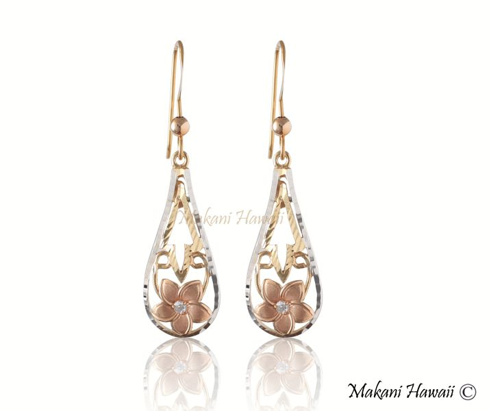 14K YG/PG/WG Plumeria Drop Hook Earring - Makani Hawaii,Hawaiian Heirloom Jewelry Wholesaler and Manufacturer