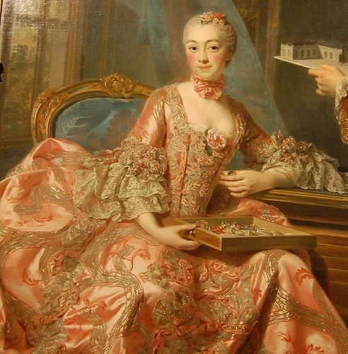 Madame de Pompadour in the best 18th century gown, ever. It is obvious from her portrait paintings that she had excellent taste.