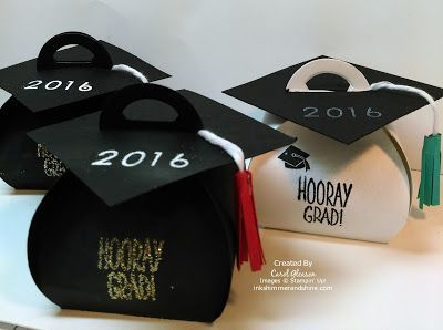 Stampin' Up! Curvy Keepsake Box Graduation Caps with Hershey Kisses inside.
