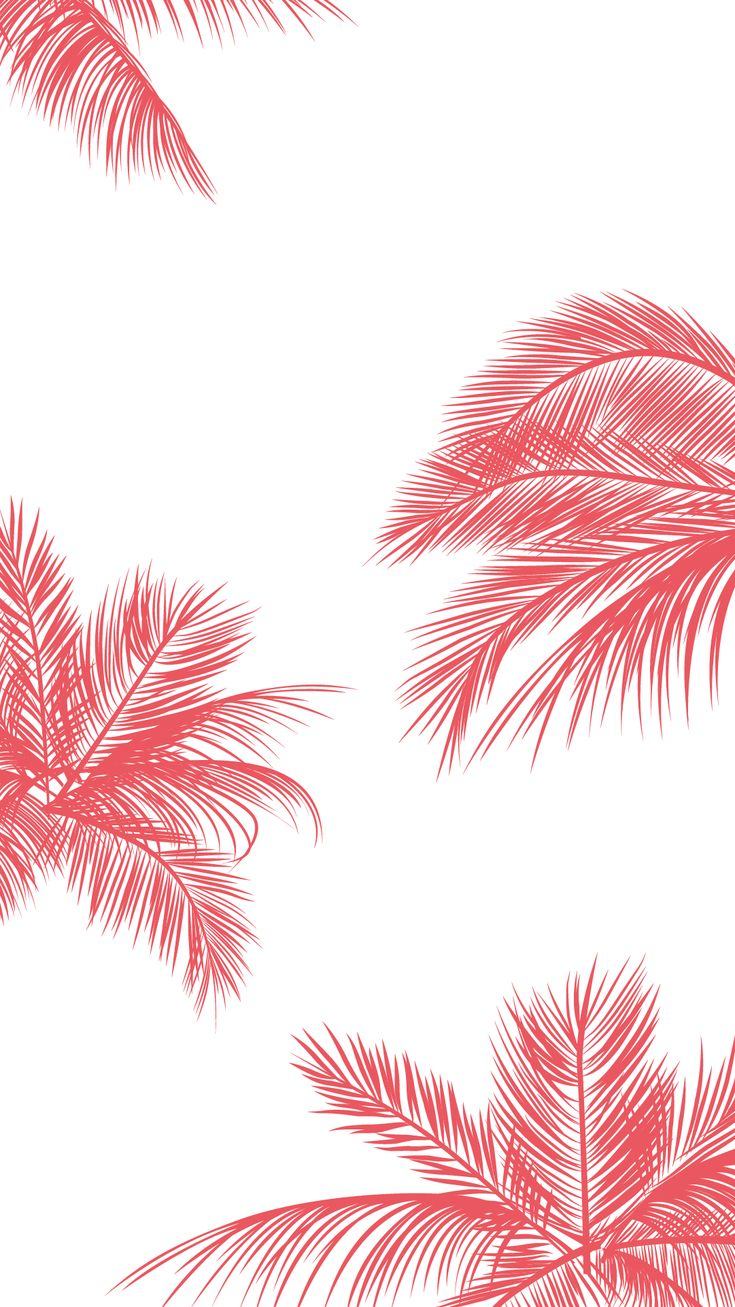 Coral pink white palm trees leaves iphone phone wallpaper