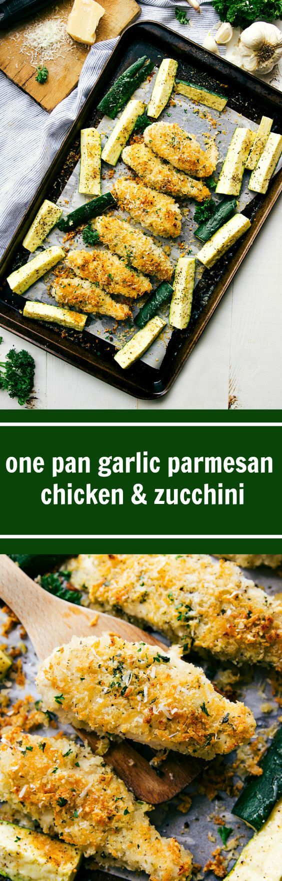 ONE PAN Simple Garlic Parmesan Chicken with Zucchini and the BEST 3-ingredient chicken sauce