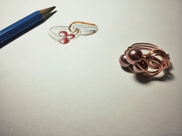 Copper ring realized with wires and stones. For info contact me :)