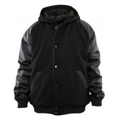 Urban Classics Hooded College Jacket Sweatjacket. Made from wool with artificial leather sleeves.