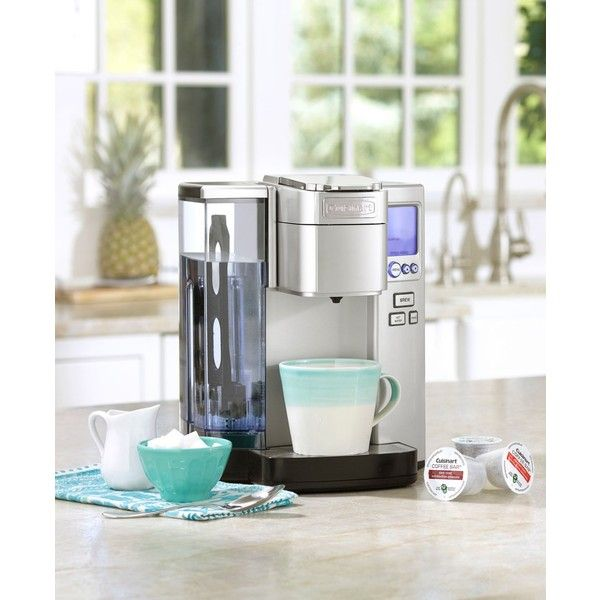 Cuisinart Ss-10 Premium Single-Serve Brewer (1 225 SEK) ❤ liked on Polyvore featuring home, kitchen & dining, small appliances, silver, cuisinart coffee machine, cuisinart coffeemaker, espresso coffee maker, espresso coffee machine and single serve coffee machine