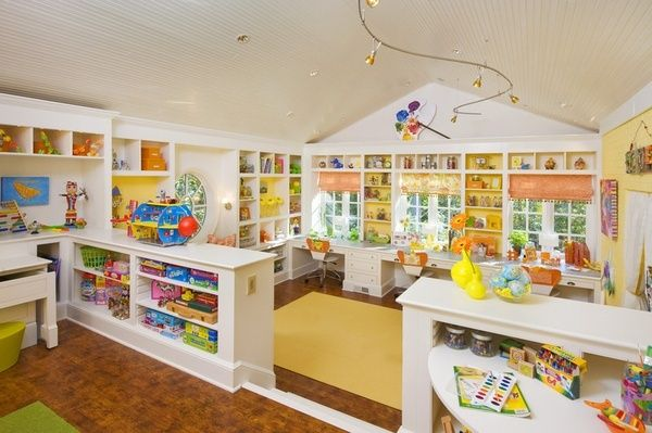 If I could remolded a whole attic in my house I would do it something like this. Craft/play/school room