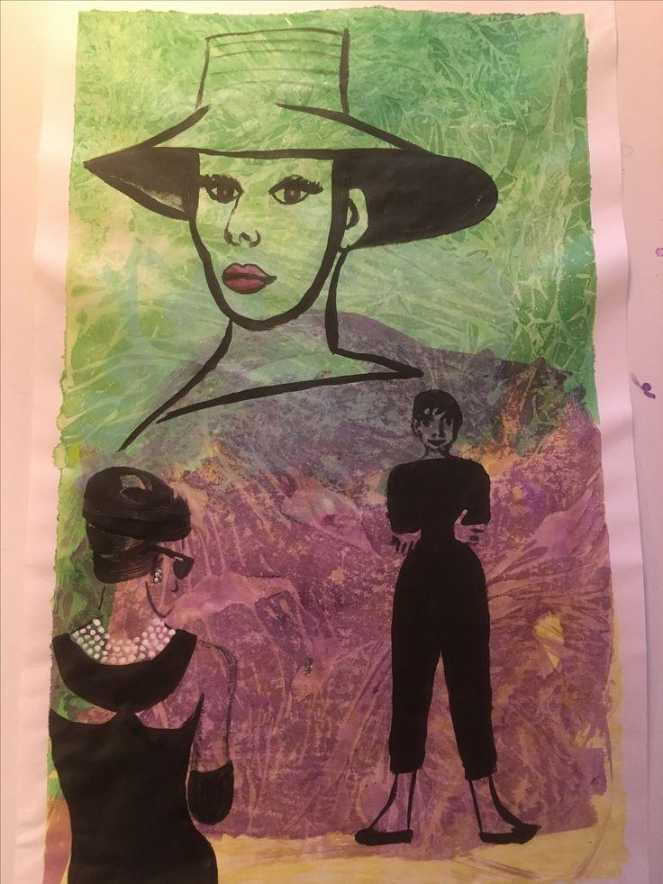 Audrey! Acrylverf en plasticfolie op papier