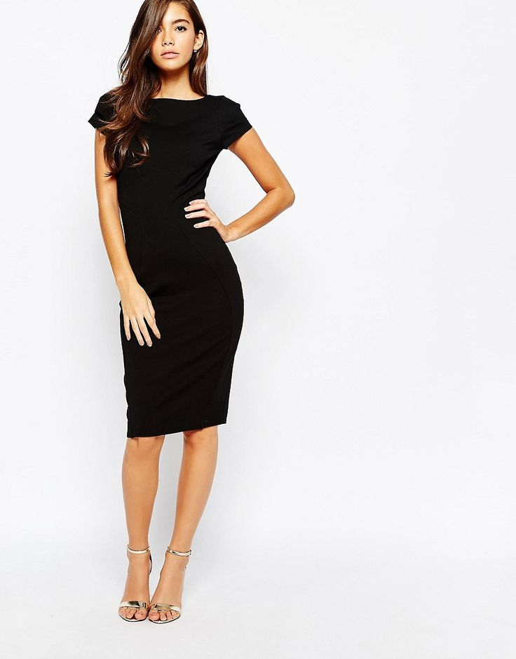 Image 1 of Closet Pencil Dress With Ruched Cap Sleeve