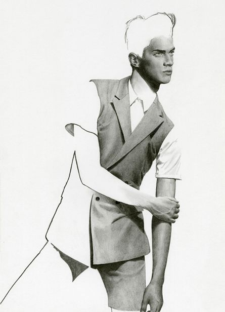 Richard Kilroy Fashion Illustrations | Male Model | Suited | Pencil Drawing | Fashion | Pose | Art