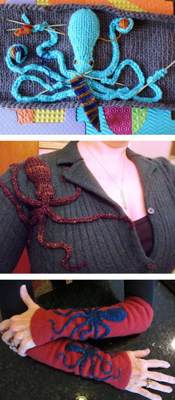 """Free Knitting Pattern for Demi Octopus - Must Knit Faster Octopus! This flat octopus is perfect to applique on accessories, cozies, or hangings like the """"Must Knit Faster"""" octopus pictured. Designed by Jennifer Wang. Pictured projects are """"Must Knit Faster"""" byUniKnitter, steampunk jacket byKnittingKnadine, armwarmers bynbparham"""
