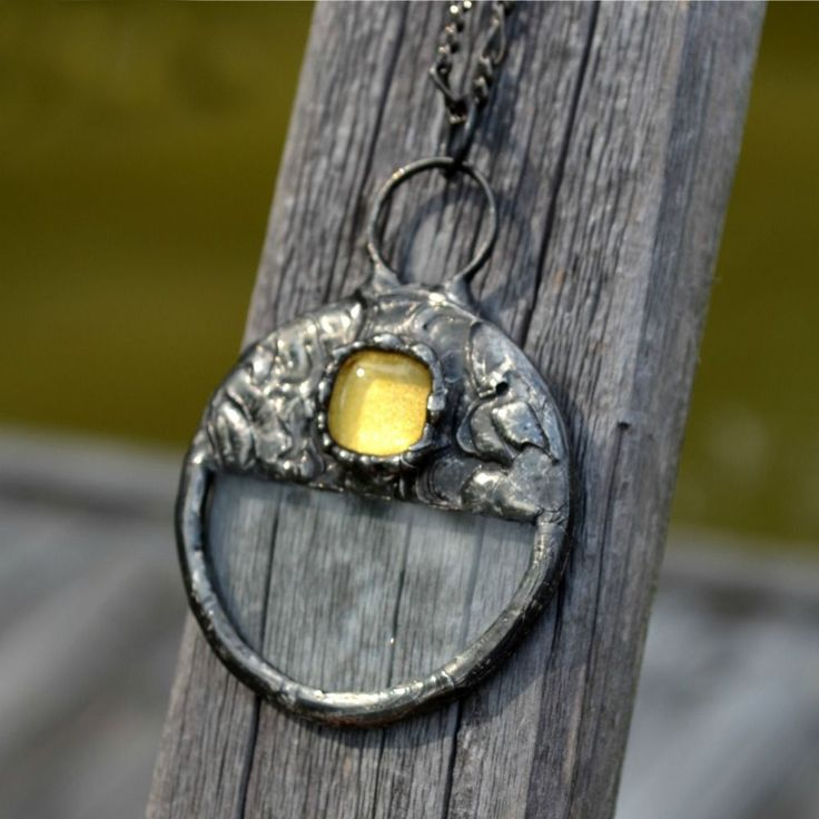 Real magnifying glass pendant, handmade by lil' ol' me.   #bayouglassarts #magnifyingglass #stainedglassjewelry #magnifier