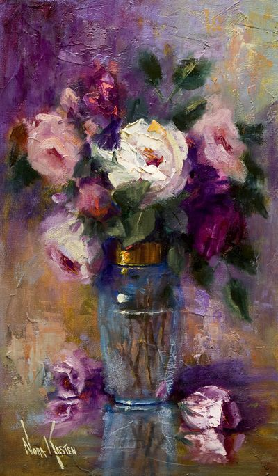"I am not really quite sure where to pin this, but since it is a painting, I suppose it might go in the home. This is beautiful and I love it. Oil painting ""A Jar Of Roses"" 20 x 12 inches by Artist NORA KASTEN"