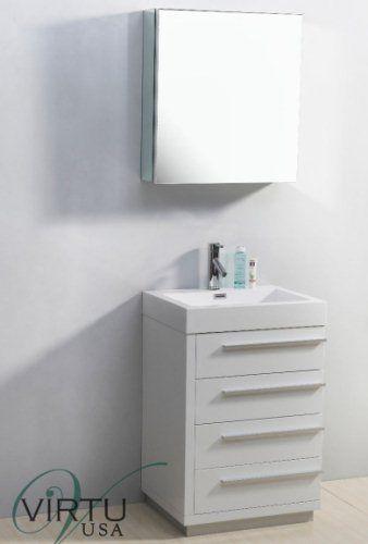 Virtu USA JS 50524 GW 24Inch Bailey Single Sink Bathroom Vanity, Gloss White
