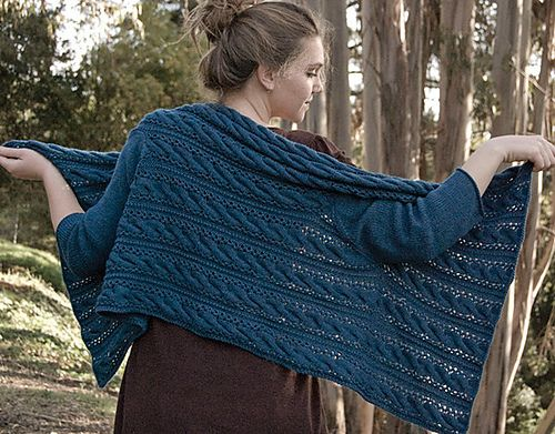 """Free knitting pattern for The Mead Sweater designed by Nora Gaughan. This cable and lace cardigan wrap is a rectangle shawl with sleeves that drapes over the shoulders. 46 - 51"""" wide x 24 - 25"""" long tba affiliate link More wrap cardigans at http://intheloopknitting.com/wrap-cardigan-knitting-patterns/"""