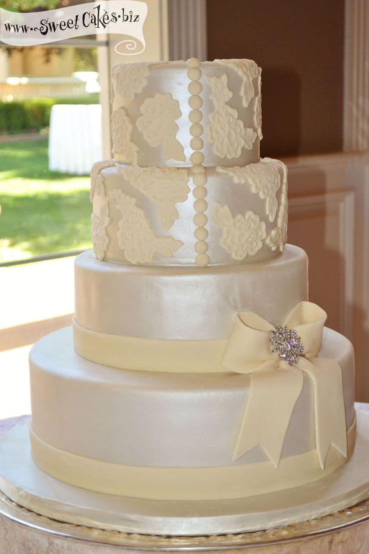 Cake With Fondant Lace : Lace Wedding Cake 4 tier iridescent wedding cake with ...