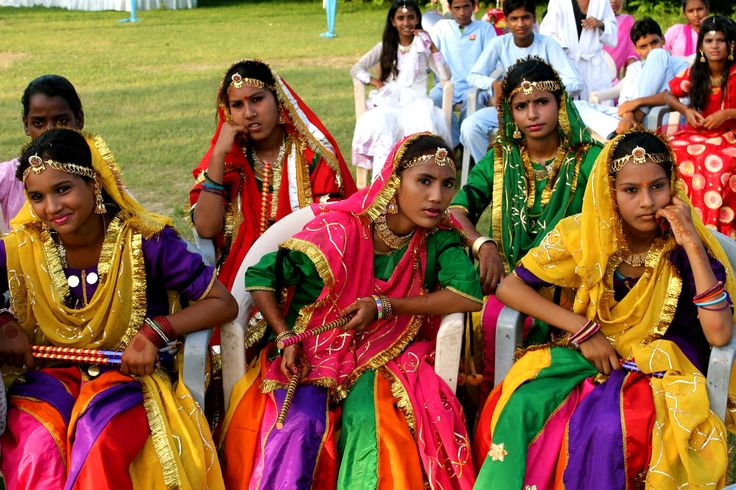 Children of the Tushita foundation ready for the folk dance, Amber, Rajasthan, India