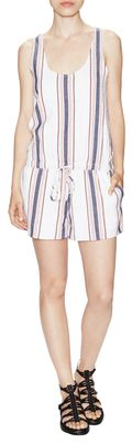 Miri Cotton Striped Romper - Shop for women's Romper - porcelain Romper