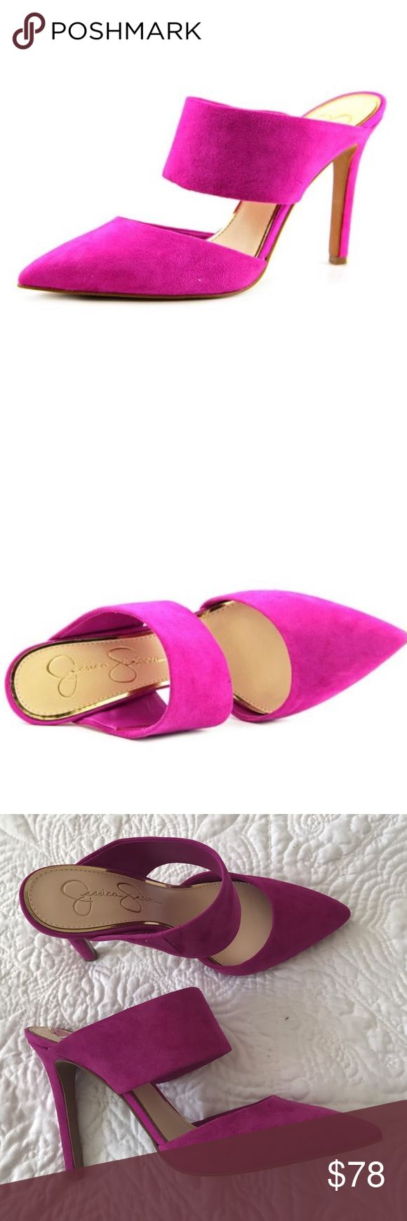 """Jessica Simpson Chandra mules Brand new with box, suede in hot pink color. Heel height 4"""". Jessica Simpson Shoes"""