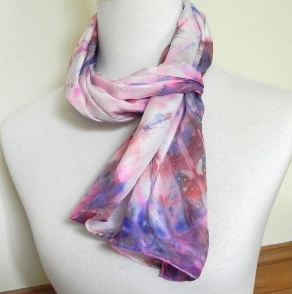 Shibori Silk Scarf Hand Dyed Red Pink Blue and by RosyDaysScarves, $39.95