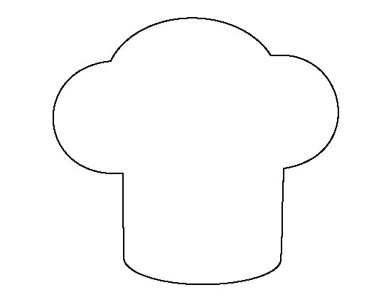 Chef hat pattern. Use the printable outline for crafts, creating stencils, scrapbooking, and more. Free PDF template to download and print at http://patternuniverse.com/download/chef-hat-pattern/