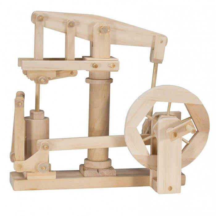 Mechanisch houten bouwset James Watt stoommachine